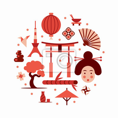 Japan, vector flat illustration, icon set, landmark background. Bonsai, flower, stone, fun, woman face, lantern, food, flag, sakura, weapon, gate, sushi, origami, bamboo tree