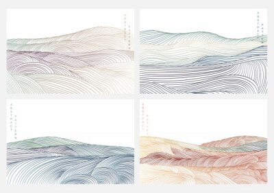 Sticker Japanese background with line wave pattern vector. Abstract art template with natural landscape. Mountain and ocean decoration in vintage style.