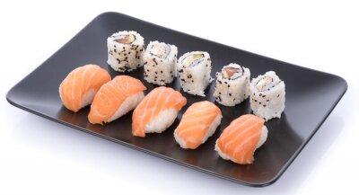 Sticker Japanische Sushi auf einem schwarzen Teller