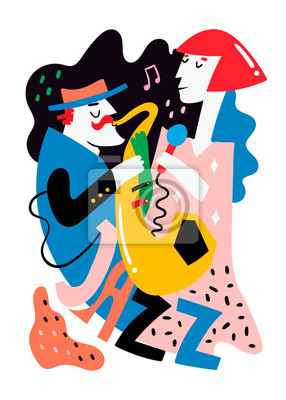 Jazz poster. Man and woman. Colored vector illustration