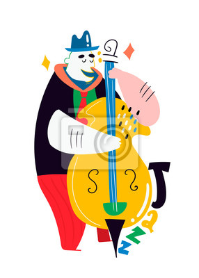 Jazz poster. Man with contrabass. Colored vector illustration