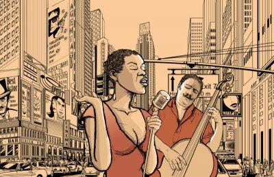 Jazz-Sänger und Bass doublle