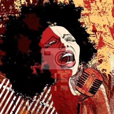 Jazz-Sängerin auf Grunge-Hintergrund