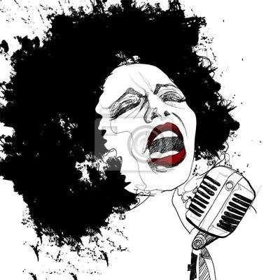 Jazz-Sängerin auf weißem Hintergrund