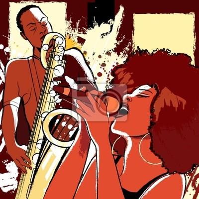 Jazz-Sängerin und Saxophonist auf Grunge-Hintergrund