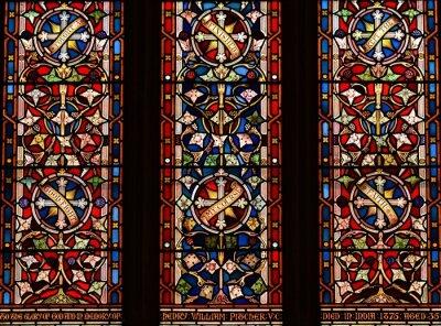 Sticker Jersey, U.K. August 1st 2019, 19th century stained glass window of St Martin's Church.