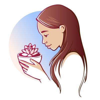 Junge asiatische Frau mit Lotus-Blume
