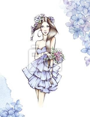 Junge Frau des eleganten Zaubers mit hübschem Gesicht und bouqet blüht. Mädchen trägt helles elegantes blaues Kleid. Mode-Look. Aquarellbild lokalisiert auf Blumenhintergrund.