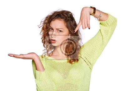 junge Frau, die offene Hand