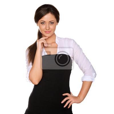 junge Frau in einem weißen Hemd und engen schwarzen Rock