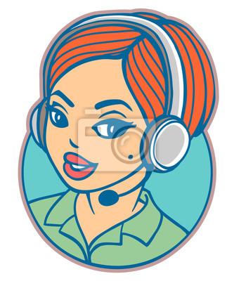 Junge Frau mit Headset. Vector Cartoon-Stil-Symbol der lächelnden Telefon-Operator.