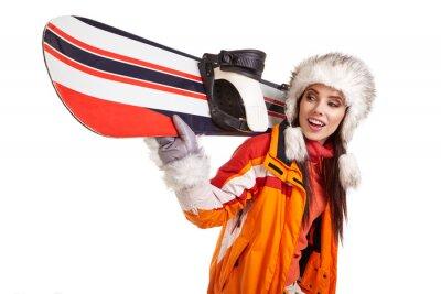 Sticker Junge Frau stehend mit Snowboard isoliert auf weiß