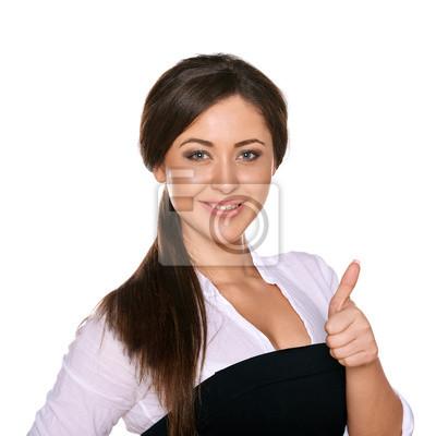 junge Frau zeigt Daumen nach oben auf weißem Hintergrund