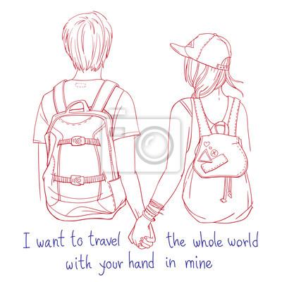 """Junge paar Backpacker halten sich gegenseitig Hände, zusammen reisen. Rückansicht, mit handschriftlichen Wörtern """"Ich möchte die ganze Welt mit deiner Hand in meiner reisen"""""""