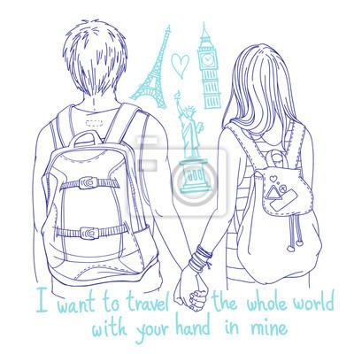 """Junge paar Backpacker mit Händen, Rückansicht. Berühmte Landmarken und handschriftliche Worte """"Ich möchte die ganze Welt mit deiner Hand in meiner reisen"""""""
