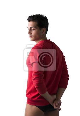 6bb41ac6c5a6 Junger mann mit rotem pullover und unterwäsche notebook-sticker ...