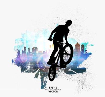 Sticker Junger männlicher Fahrradpullover.  Gesunder Lebensstil.