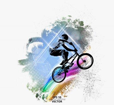 Sticker Junger männlicher Fahrradpullover.  Gesunder Lebensstil.  Vektor