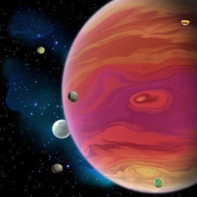 Sticker Jupiter Planet - Jupiter ist der größte Gasriesenplanet in unserem Sonnensystem mit 67 Monden und hat einen großen roten Fleckwirbel unter dem Äquator.