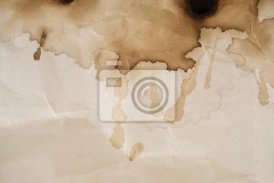 Sticker Kaffeefleck / trockener Kaffeefleck auf Papierhintergrund.