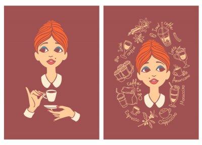 Kaffeeliebhaber Zwei Vintage Postkarten - junge schöne Frau trinkt Kaffee