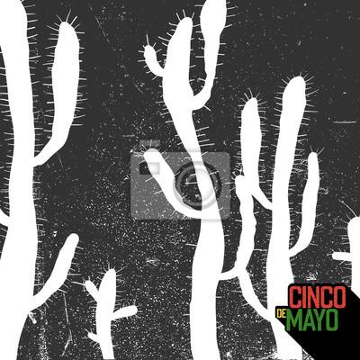 Kaktus Hintergrund. Cinco de Mayo Feiertagskarte. Grunge monochrome Hintergrund.
