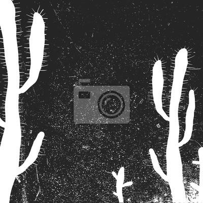 Kaktus Hintergrund. Grunge monochrome Hintergrund. Schwarz und weiß