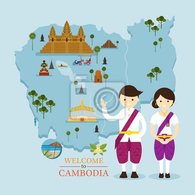 Kambodscha Karte und Sehenswürdigkeiten mit traditioneller Kleidung, Kultur, Reisen und Attraktionen
