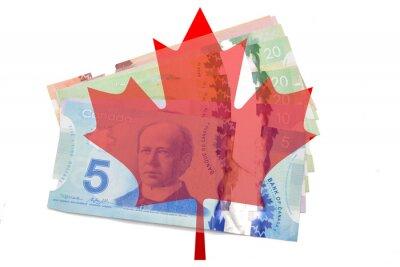 Sticker Kanadischen Ahornblatt mit Dollar auf weißem Hintergrund