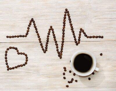 Sticker Kardiogramm und Herz legte Kaffeebohnen mit einer Tasse Kaffee