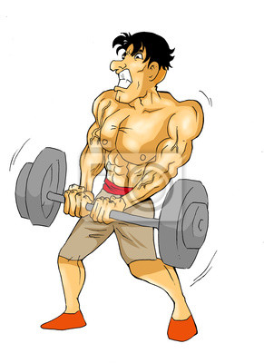 Karikatur eines muskulösen männlichen Figur tun Gewichtheben