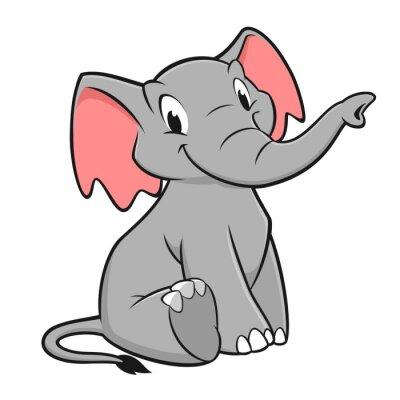 Sticker Karikatur-Elefant-