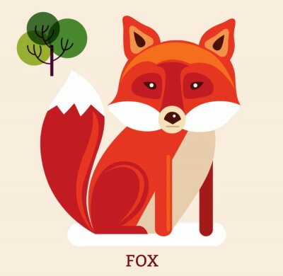 Sticker Karikaturabbildung mit nettem Fuchs