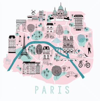 Sticker Karikaturkarte von Paris mit Legenden-Ikonen. Druckdesign