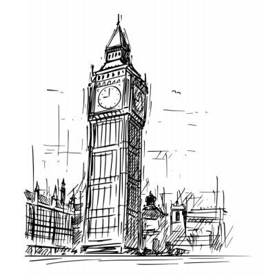 Sticker Karikaturskizzen-Zeichnungsillustration von Westminster-Palast, Big Ben Elizabeth-Glockenturm in London, England, Vereinigtes Königreich.