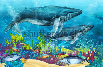 Sticker Karikaturszene mit Wal nahe Korallenriff - Illustration für Kinder