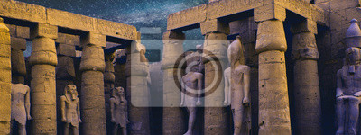 Sticker Karnak Temple, Colossal sculptures of ancient Egypt in the Nile Valley in Luxor, Embossed hieroglyphs on the wall