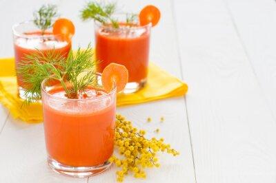 Sticker Karottensaft in Gläsern und Mimosen Zweig