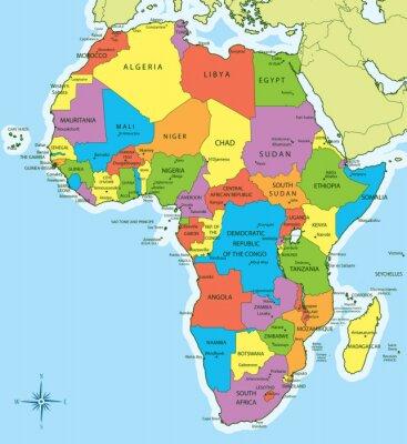 Sticker Karte Afrika mit Ländern und Städten