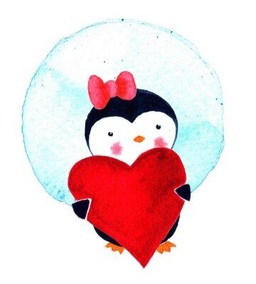 Karte am Valentinstag mit Liebe Pinguin. Aquarell-Illustration isoliert auf weißem Hintergrund