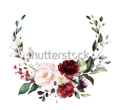 Sticker Karte. Aquarelleinladungsentwurf mit Burgunder und roten Rosen, Blätter. Blume, Hintergrund mit Blumenelementen, botanische Aquarellillustration. Vintage Vorlage. Kranz, runder Rahmen