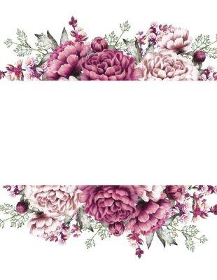 Sticker Karte, Aquarellhochzeitseinladungsentwurf mit Rosa, lila Pfingstrosen, Knospe, kleine Blumen und Blätter. Hand gemalt floral background für Ihren Text. Vorlage. Rahmen.