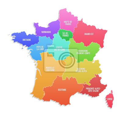 Frankreich Karte Regionen.Sticker Karte Der Regionen Von Frankreich
