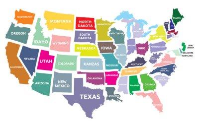 Sticker Karte der USA mit Staaten