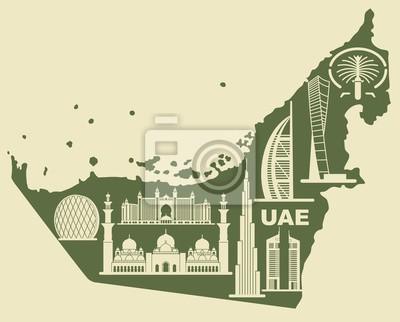 Karte der VAE mit Silhouetten von Gebäuden