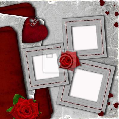 Karte für Einladung mit Herzen und Rosen