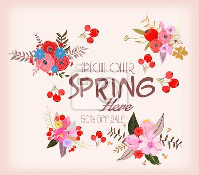Karte für Frühjahrssaison mit weißem Rahmen und Kraut. Aktionsangebot mit Frühlingspflanzen, Blättern und Blumendekoration