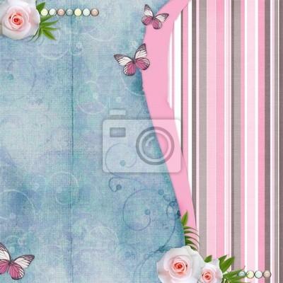 Karte für Glückwunsch oder Einladung mit rosa Rosen, Schmetterling