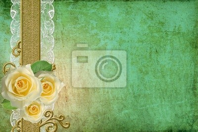 Karte für Glückwunsch oder Einladung mit Spitze und drei Rosen