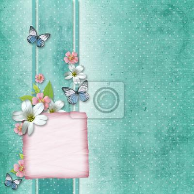 Karte mit Blumen und Schmetterling für Glückwunsch an Urlaub
